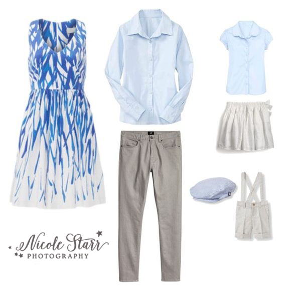 what to wear in family portraits, shades of blue outfits