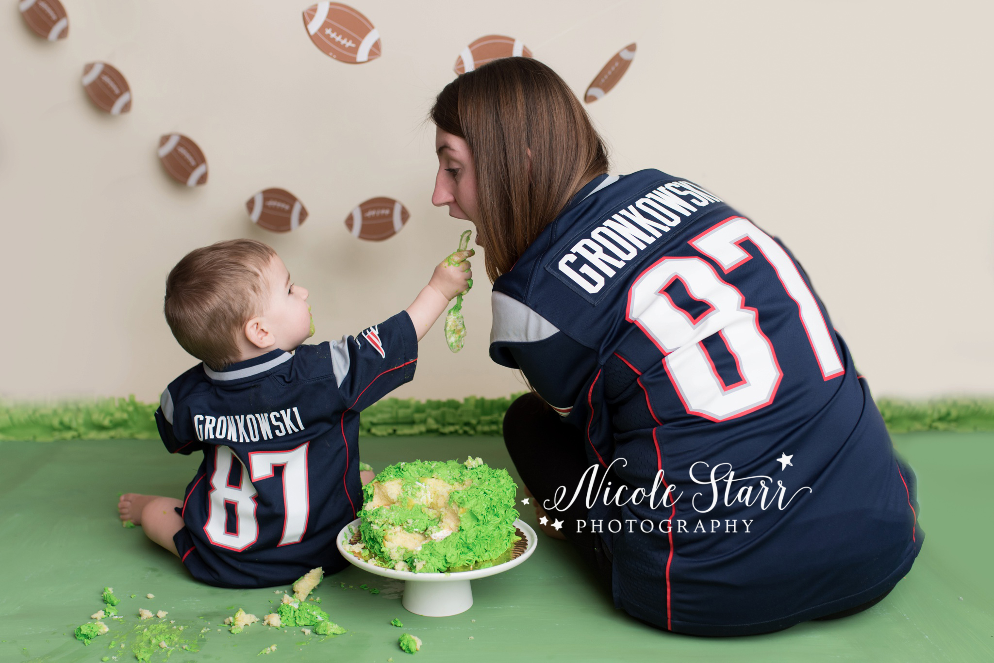 Nicole Starr Photography | Saratoga Springs Cake Smash Photographer | Boston Cake Smash Photographer | Saratoga Springs Family Photographer | Boston Family Photographer  |  Albany Cake Smash Photographer  |  Football cake smash  |  Patriots football birthday party