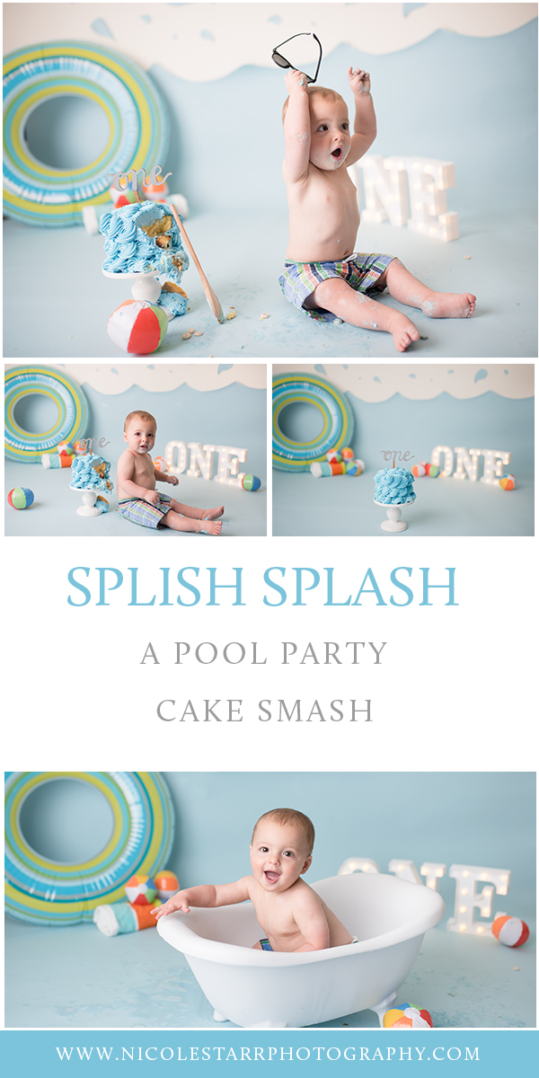 Nicole Starr Photography | Saratoga Springs Cake Smash Photographer | Boston Cake Smash Photographer | Saratoga Springs Family Photographer | Boston Family Photographer Delmar NY Cake Smash Photographer | Loudonville NY Cake Smash Photographer, Pool Party cake smash, summer inspired cake smash, summer cake smash, pool cake smash