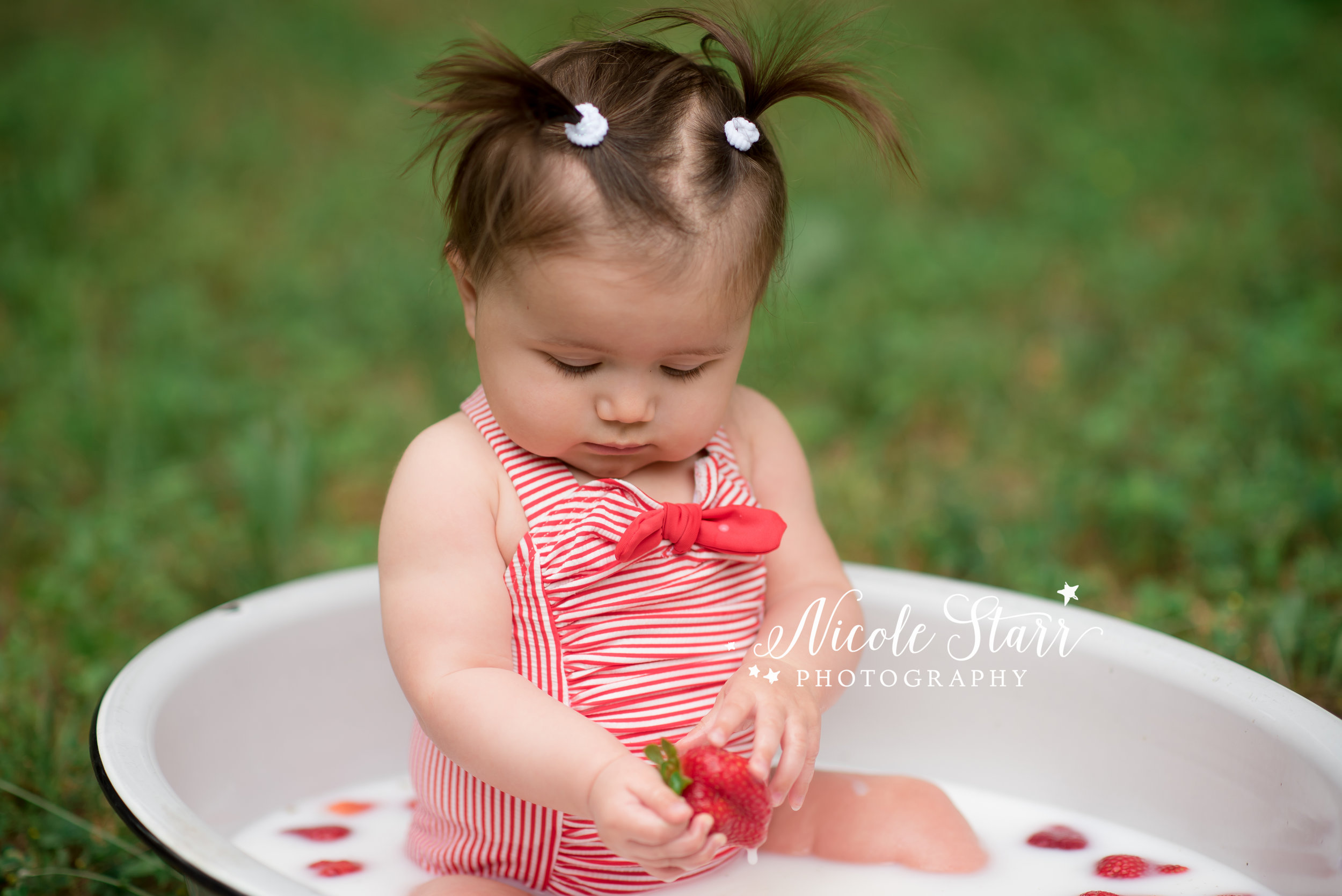 Nicole Starr Photography | Saratoga Springs Children's Photographer | Boston Children's Photographer | Upstate NY Children's Photographer | Children's Photographer | Delmar NY Children's Photographer | Loudonville NY Children's Photographer, client wardrobe, what to wear for milestone session, milestone photography, outfits for babies, client outfits, photoshoot outfits, strawberries and cream milk bath, milestone portraits, milestone session, 7 month milestone, milk bath