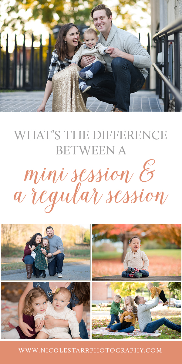 What's the difference between a mini session and a regular session?  Tips from Saratoga Springs family photographer Nicole Starr Photography.
