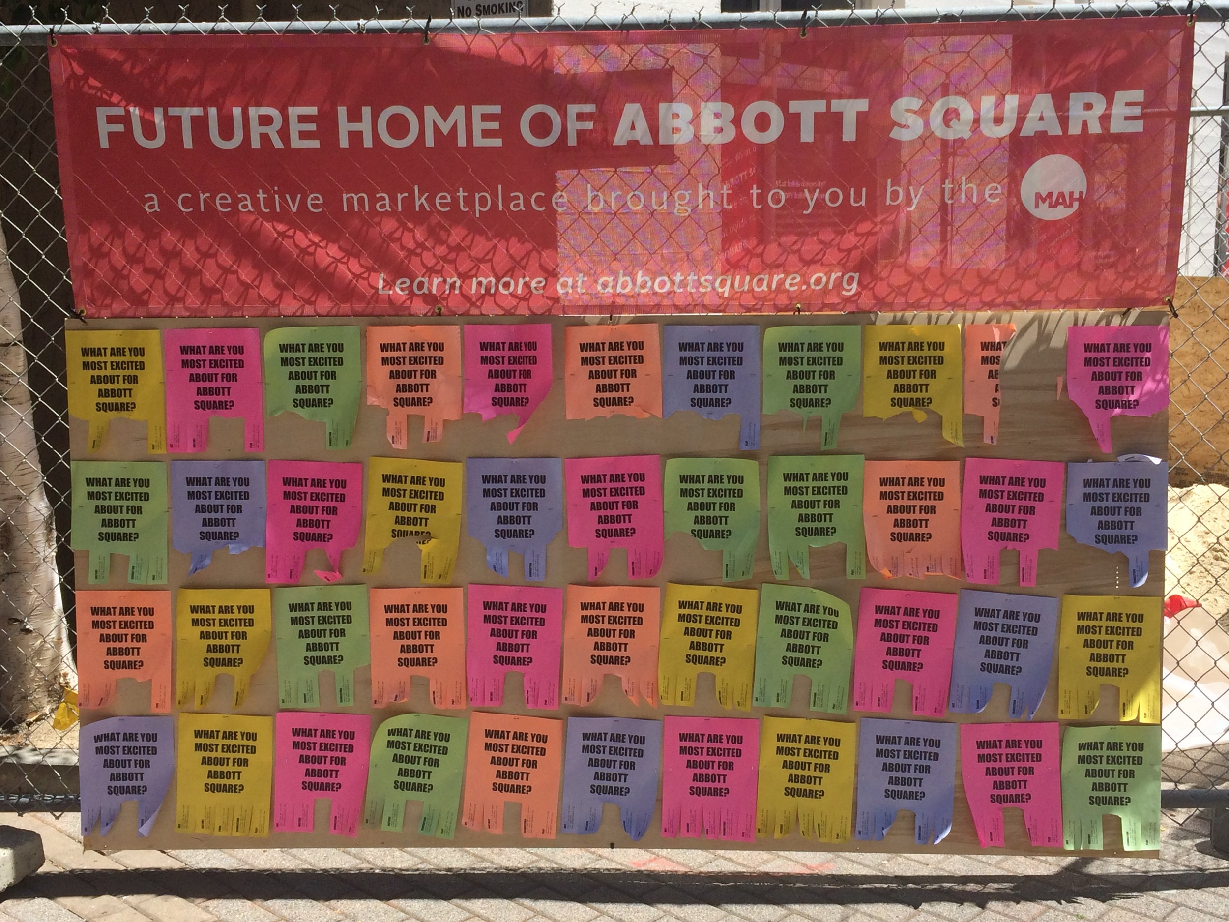 Banner promoting Abbott Square at the Santa Cruz Museum of Art & History.