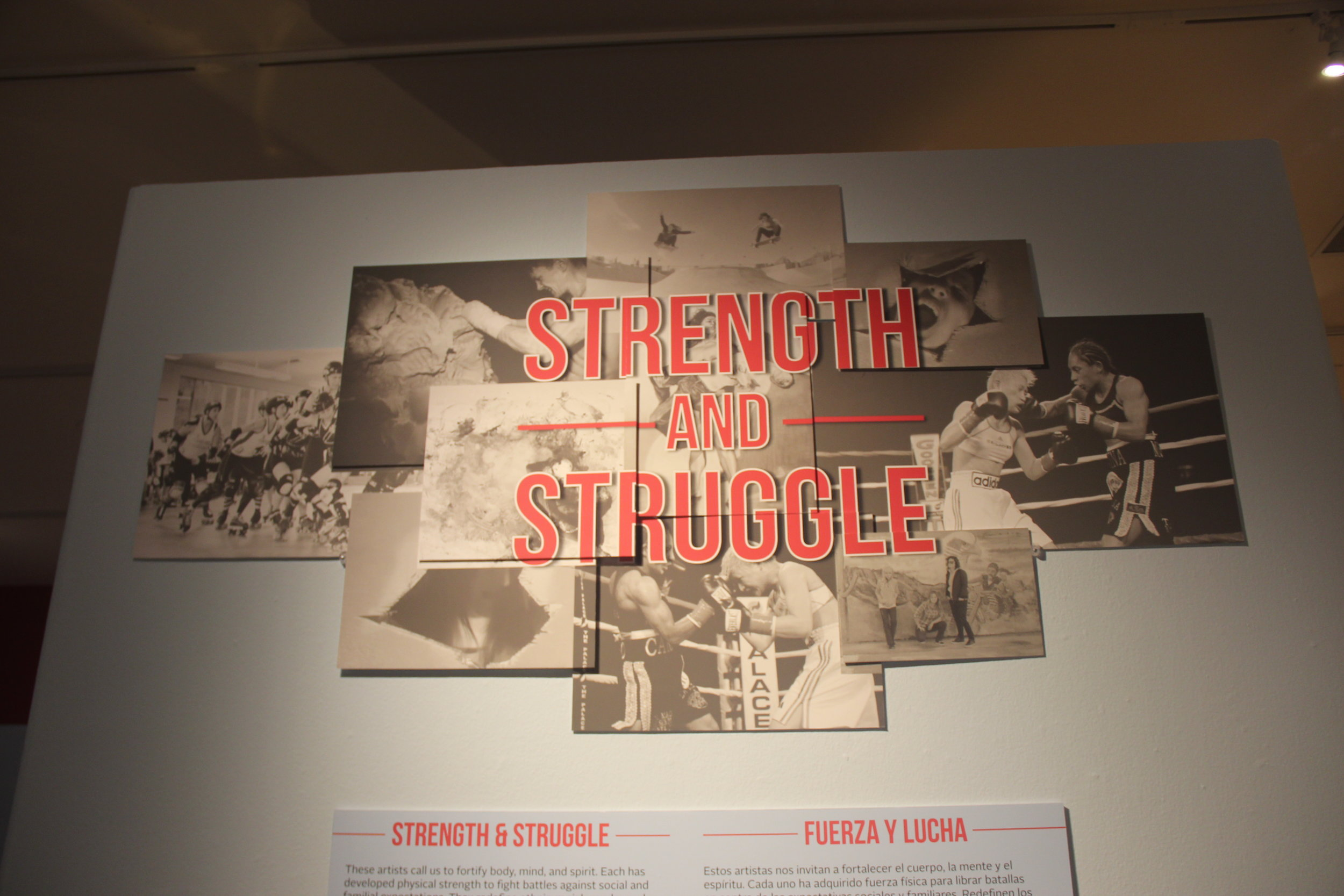Close up of the Intro signage to the Strength and Struggle Exhibition at the Santa Cruz Museum of Art & History.  Co-designed with Exhibition Manager Justin Collins.