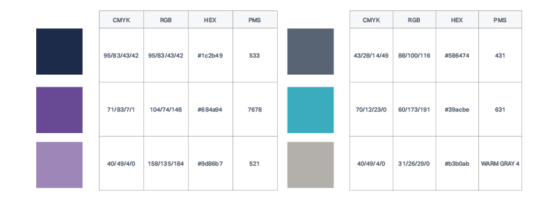 A good colour palette template should define CMYK, RGB, HEX and PMS codes.