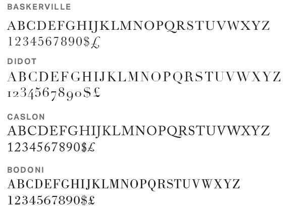 The Roman Typeface