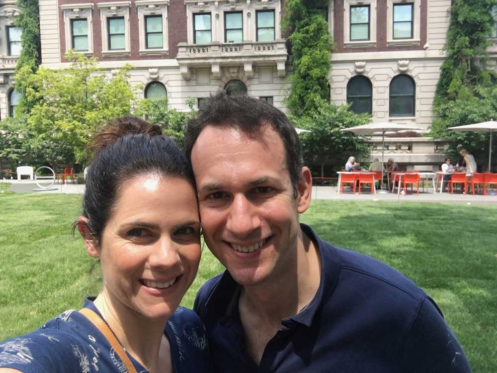 My husband and I outside the Cooper Hewitt Design Museum in New York.