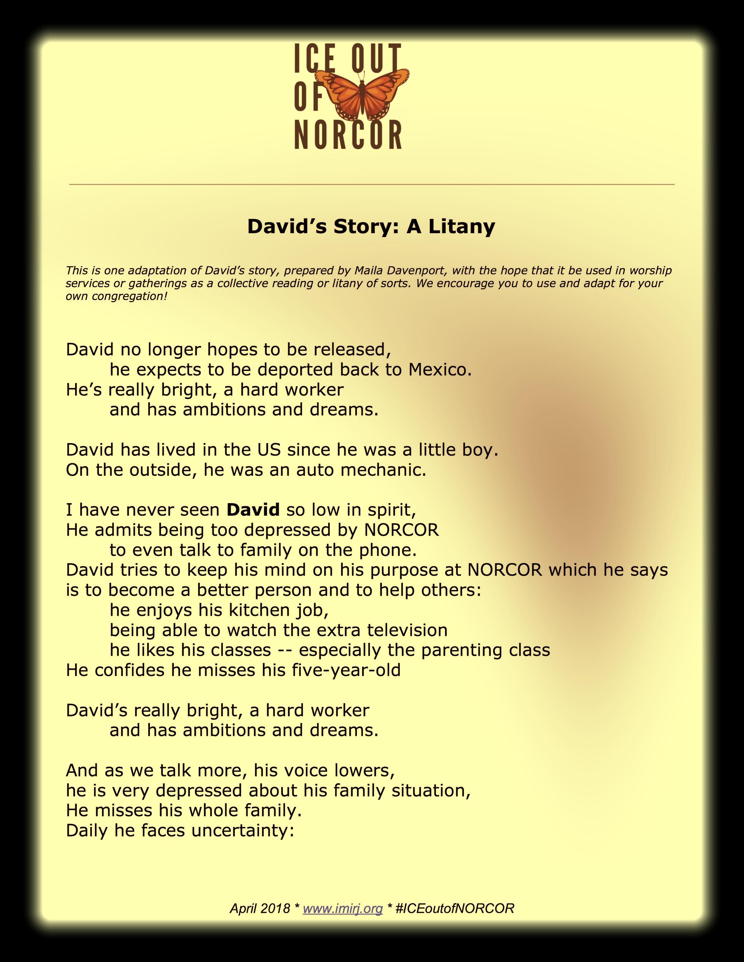 David's Story: A Litany