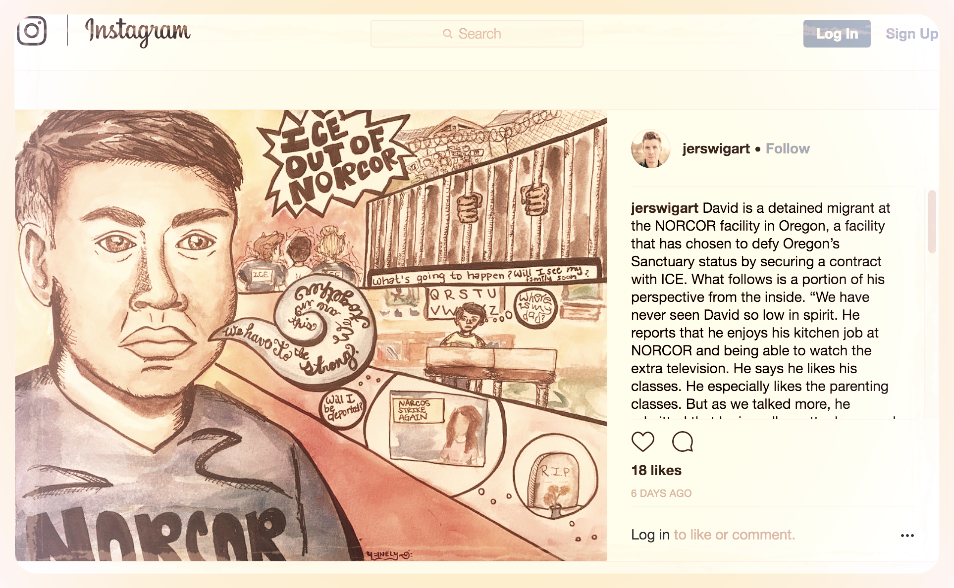 Amplify! - Copy an image and an excerpt from one of the stories of immigrants detained at NORCOR above. Share it on social media! Make sure to tag #ICEOutOfNORCOR and #IMIrJ. Let's make sure that our communities hear these immigrants' stories.