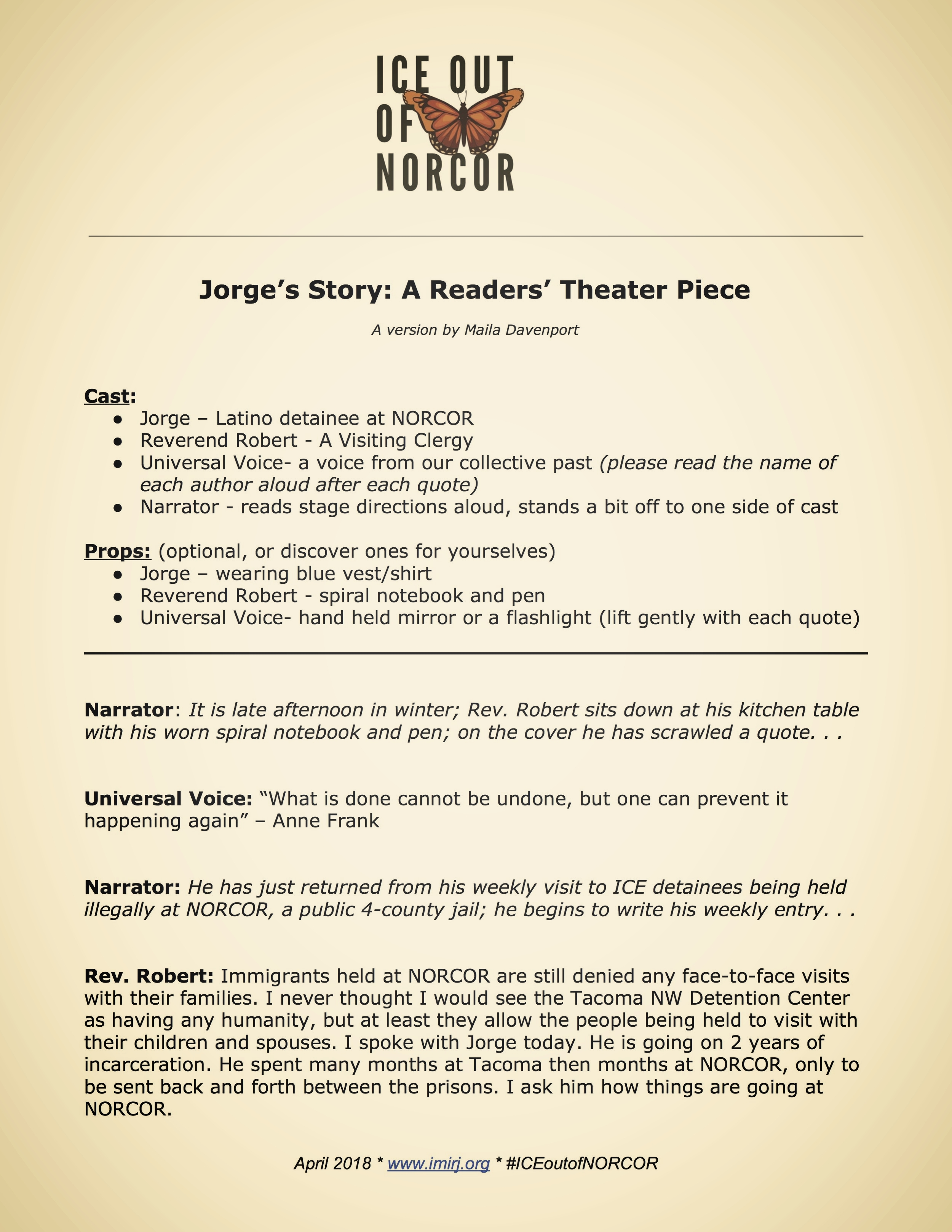 Jorge's Story: A Readers' Theater