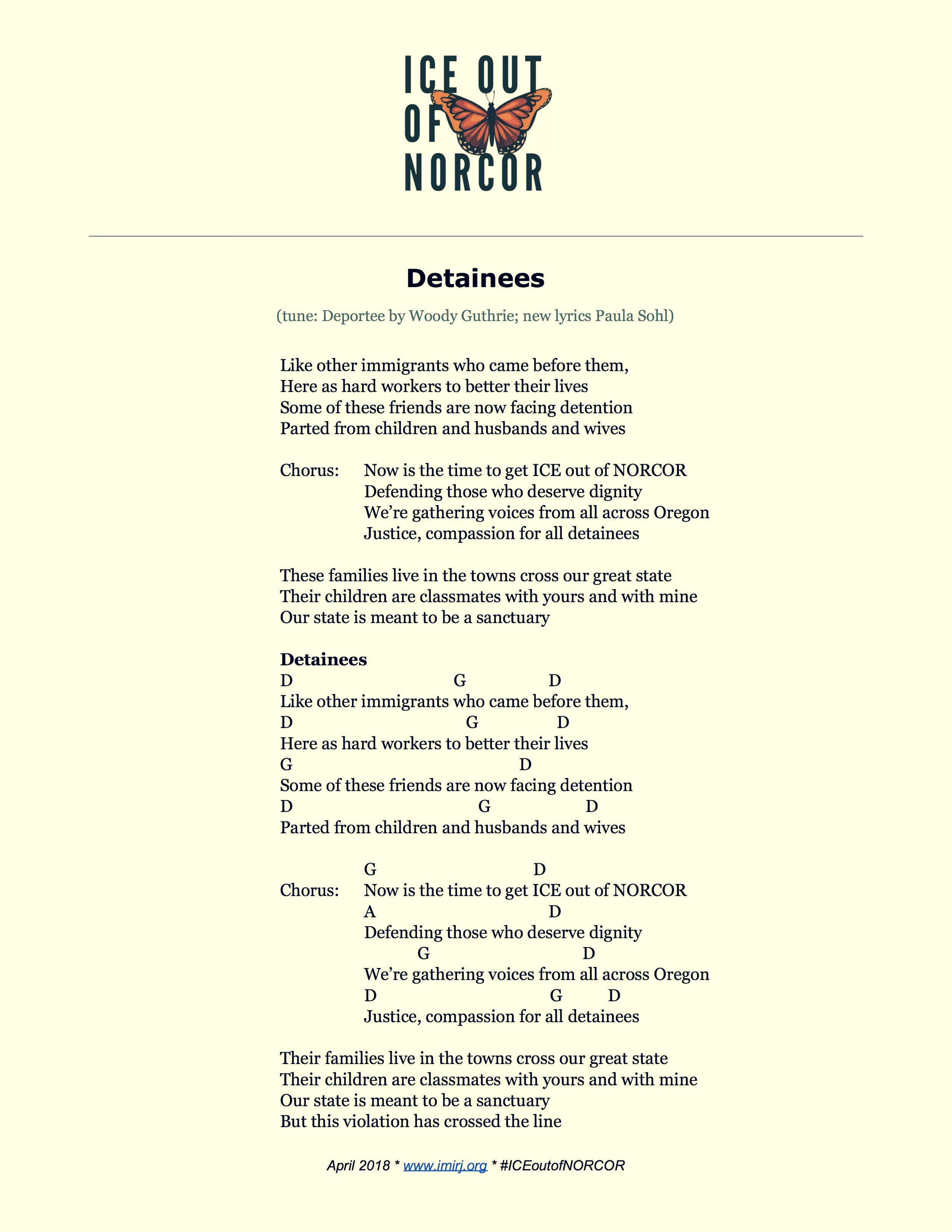 Song: Detainee (to the tune of Deportee by Woodie Guthrie)