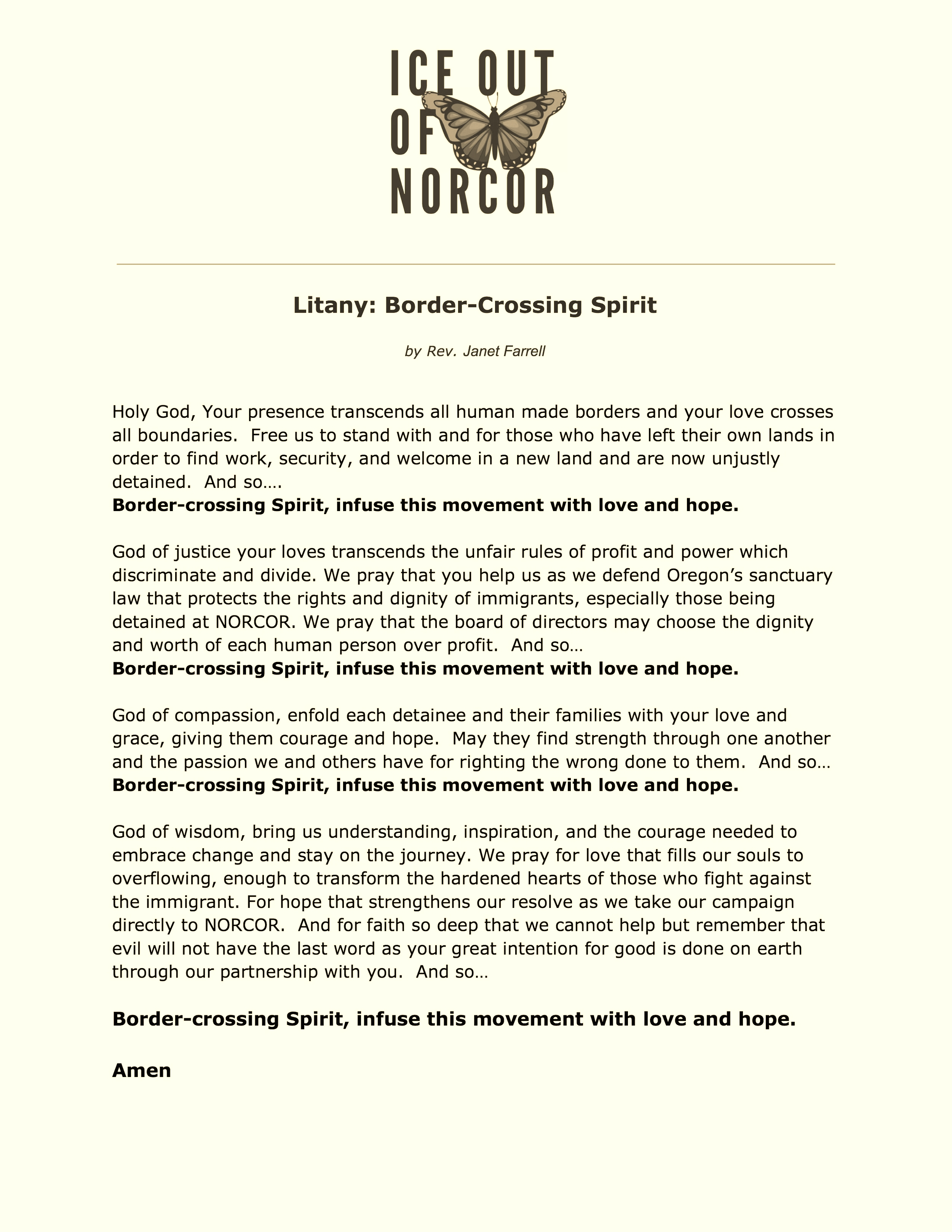 Litany: Border-Crossing Spirit