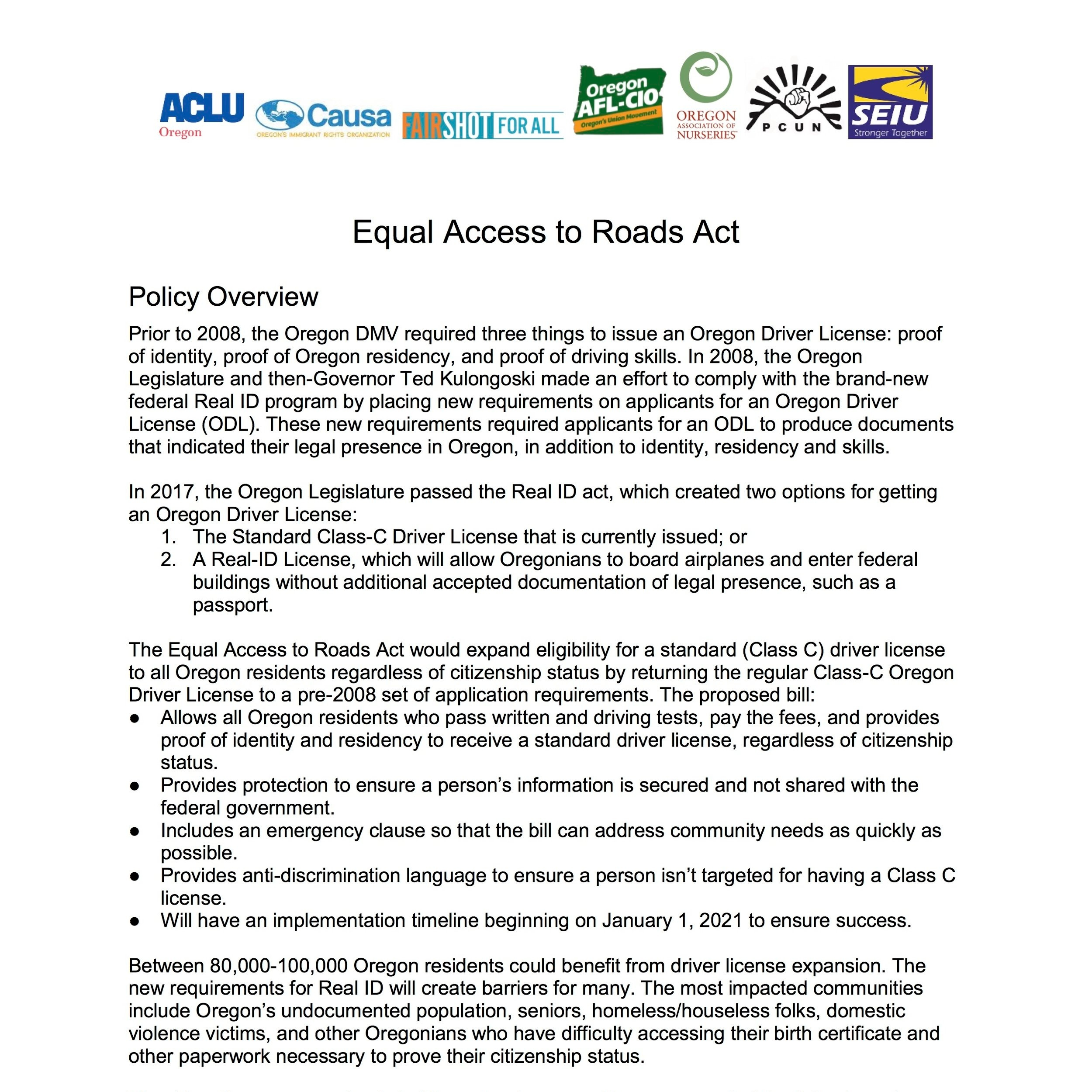 HB2015 Equal Access to Roads