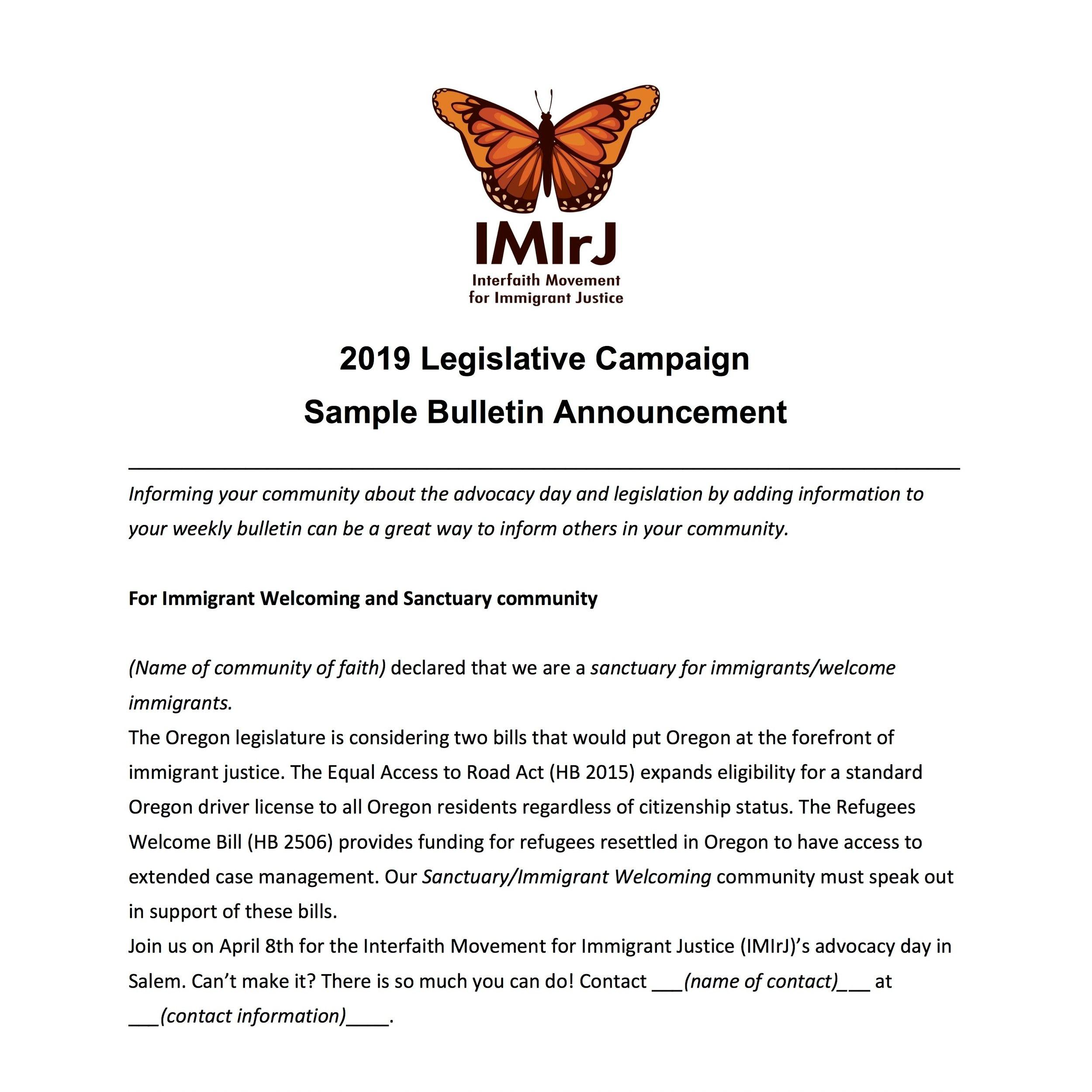 Sample Bulletin Announcements