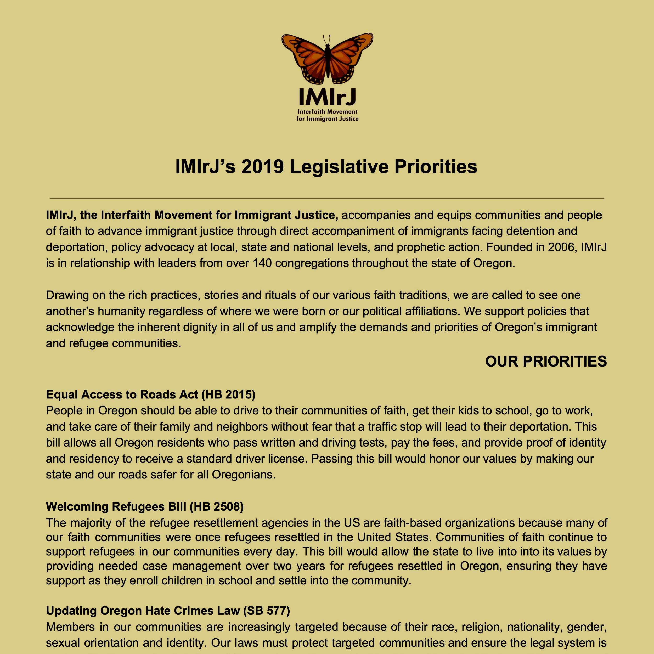 IMIrJ Legislative Priorities