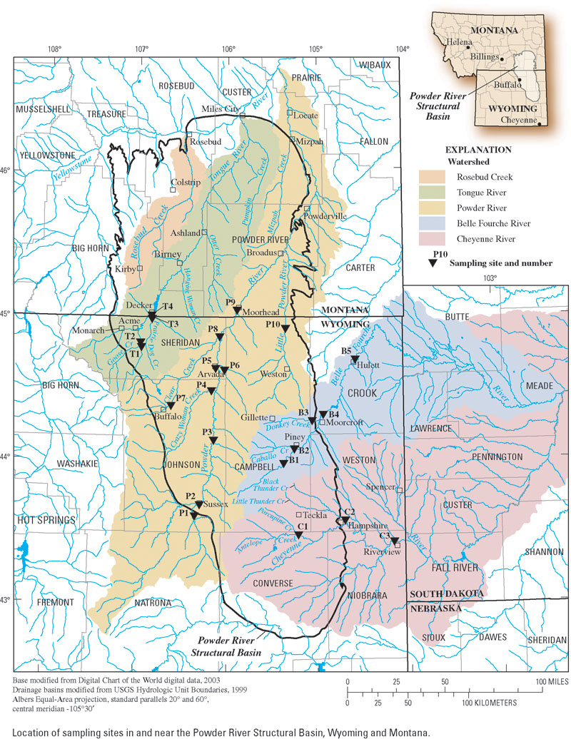 Map of the Powder River Basin (Credit:  Melanie Clark )