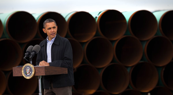 President Obama voicing support for the Gulf Coast Project in Ripley, Oklahoma (Credit: Doug Mills/The New York Times)