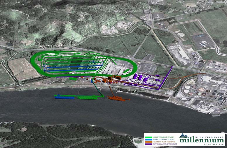 The proposed site for Millennium's coal refinery in Longview, Washington. (Credit: E. Smith)