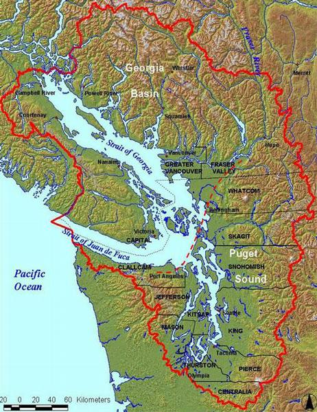 A map of the Salish Sea and its watershed (Credit:  file )