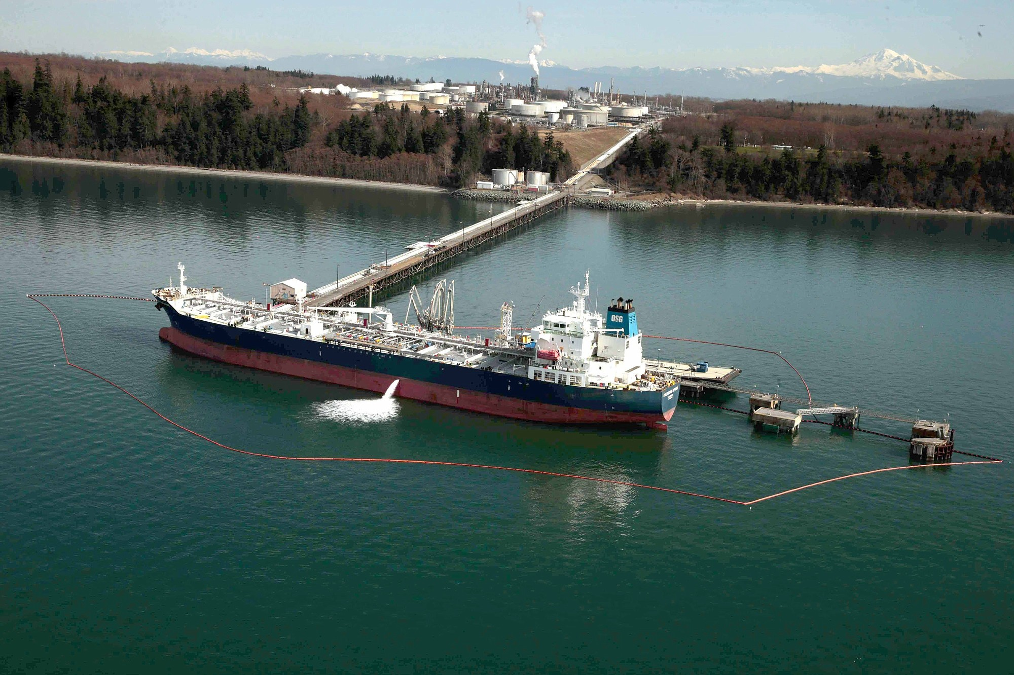 Oil tanker at Cherry Point Oil Terminal (Credit: The Columbian)