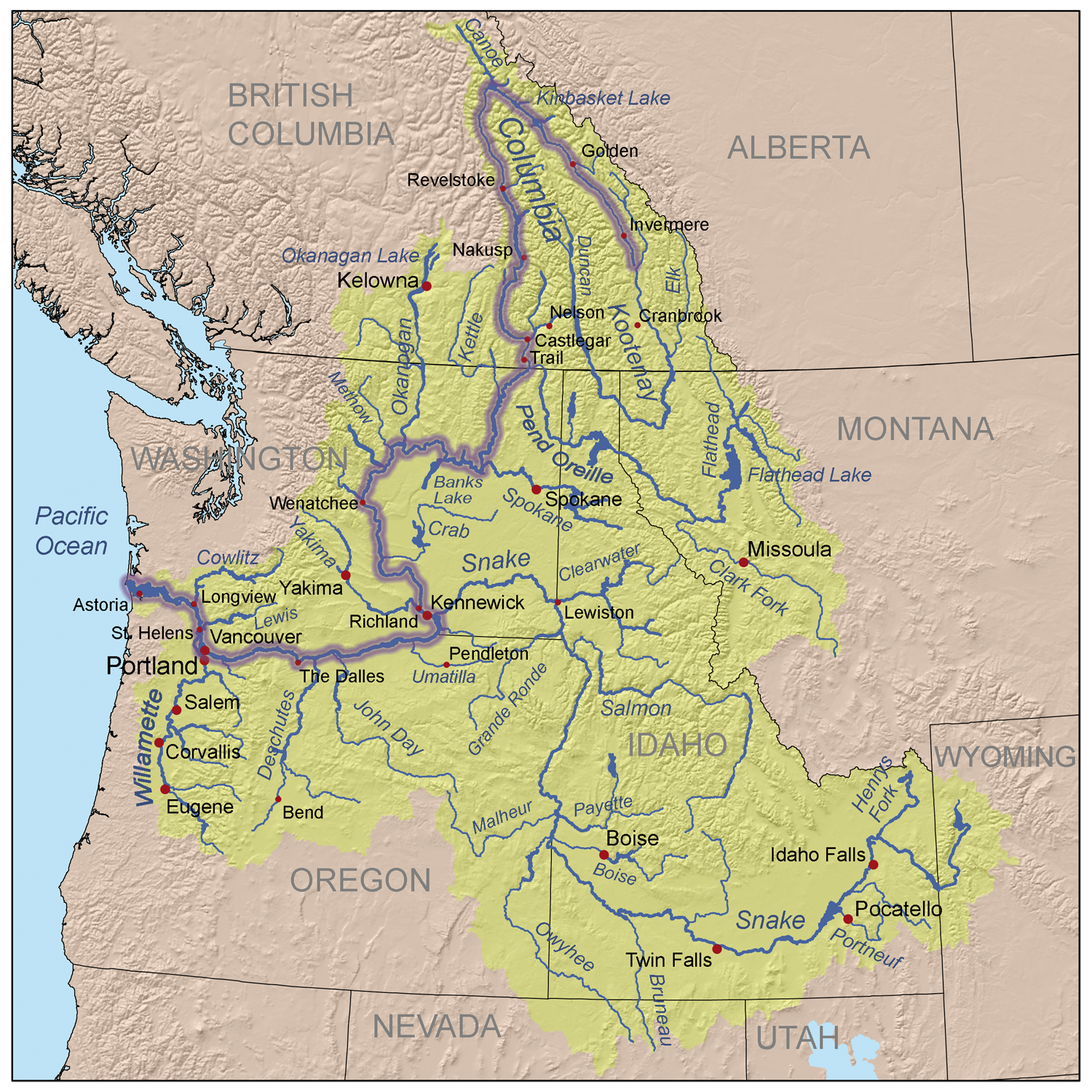 A map of the Columbia River (Credit:  Kmusser )