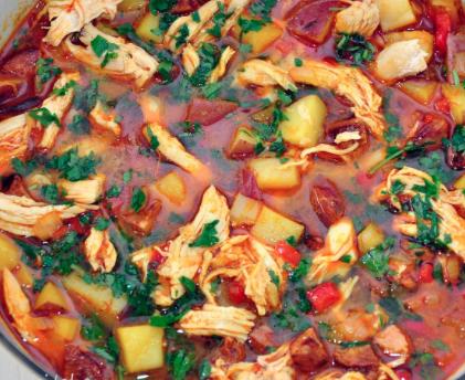Chicken la-tienda (spanish chorizo and chicken broth)