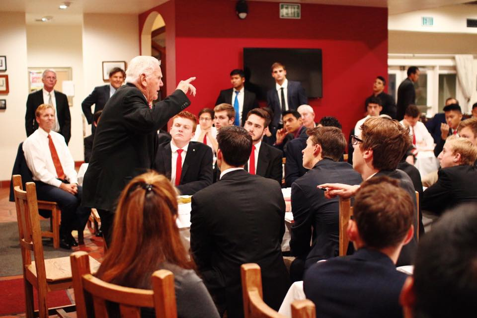 Alumnus Jerry Nelson, Founder of Ticket Master, addresses the chapter at Monday dinner