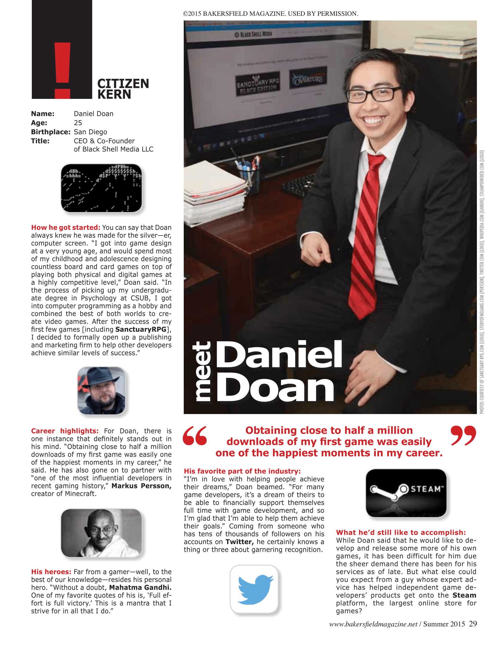 FEATURED IN A LOCAL MAGAZINE foLlowing the success of black shell media.
