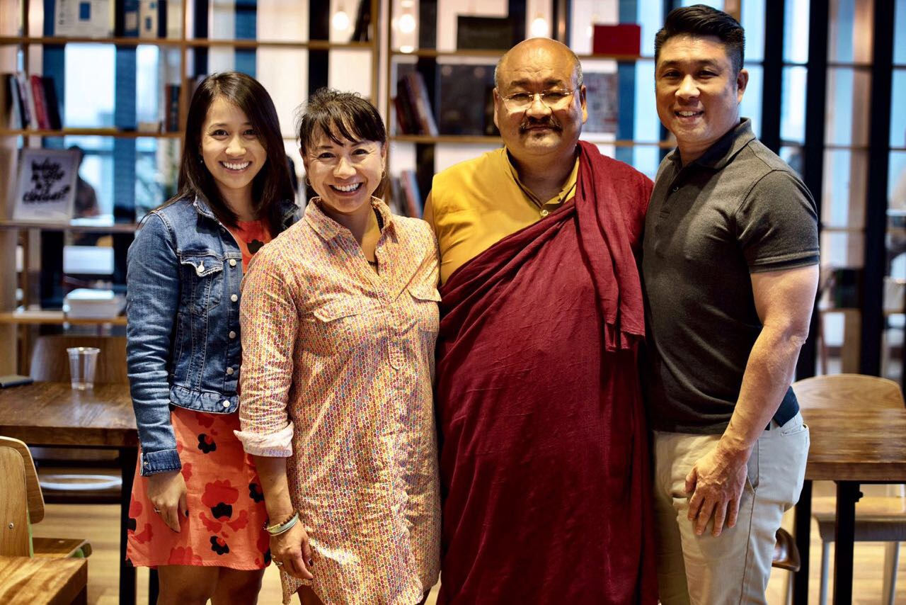 May 2017, Hong Kong. Khenpo Lungtaen Gyatso with (L to R) Carly Chung, Karen See and Ken Chow of {embrace} worldwide.