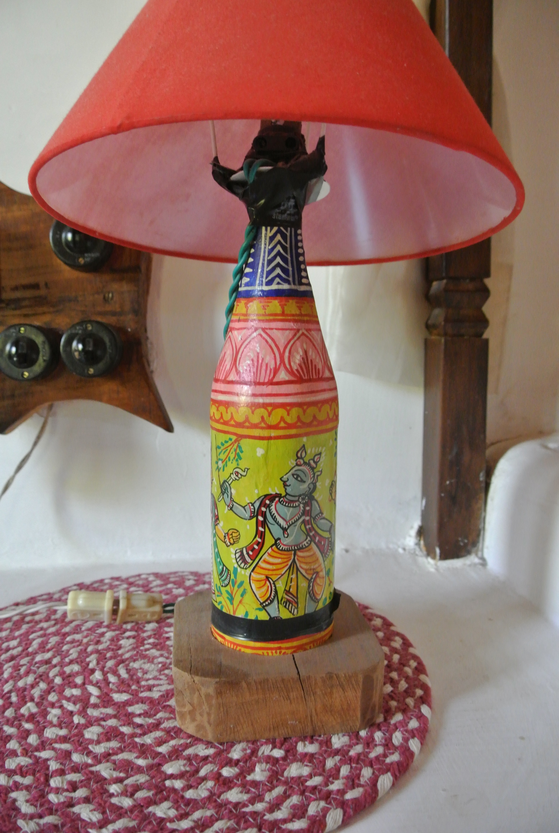 hand painted beer bottle as a lamp in our room