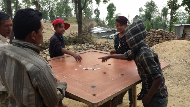 A pretty worn out Carrom board, keeps the villagers entertained for hours.  I remember playing with my grandpa in Fiji.