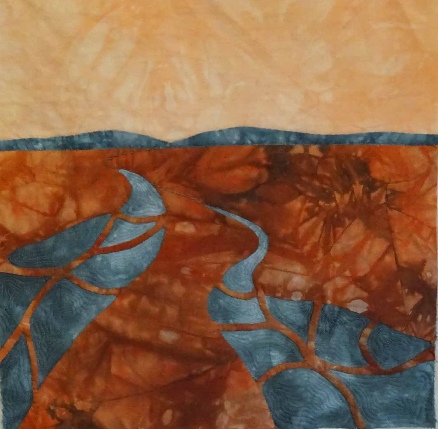 """© Carolyn Collins 2016 """" River or Road?""""  Hand dyed fabric 12"""" x 12"""""""