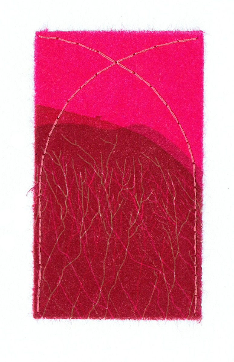 ' Lament' by Elizabeth Banfield                     Linocut on two layers of tissue paper with hand stitching