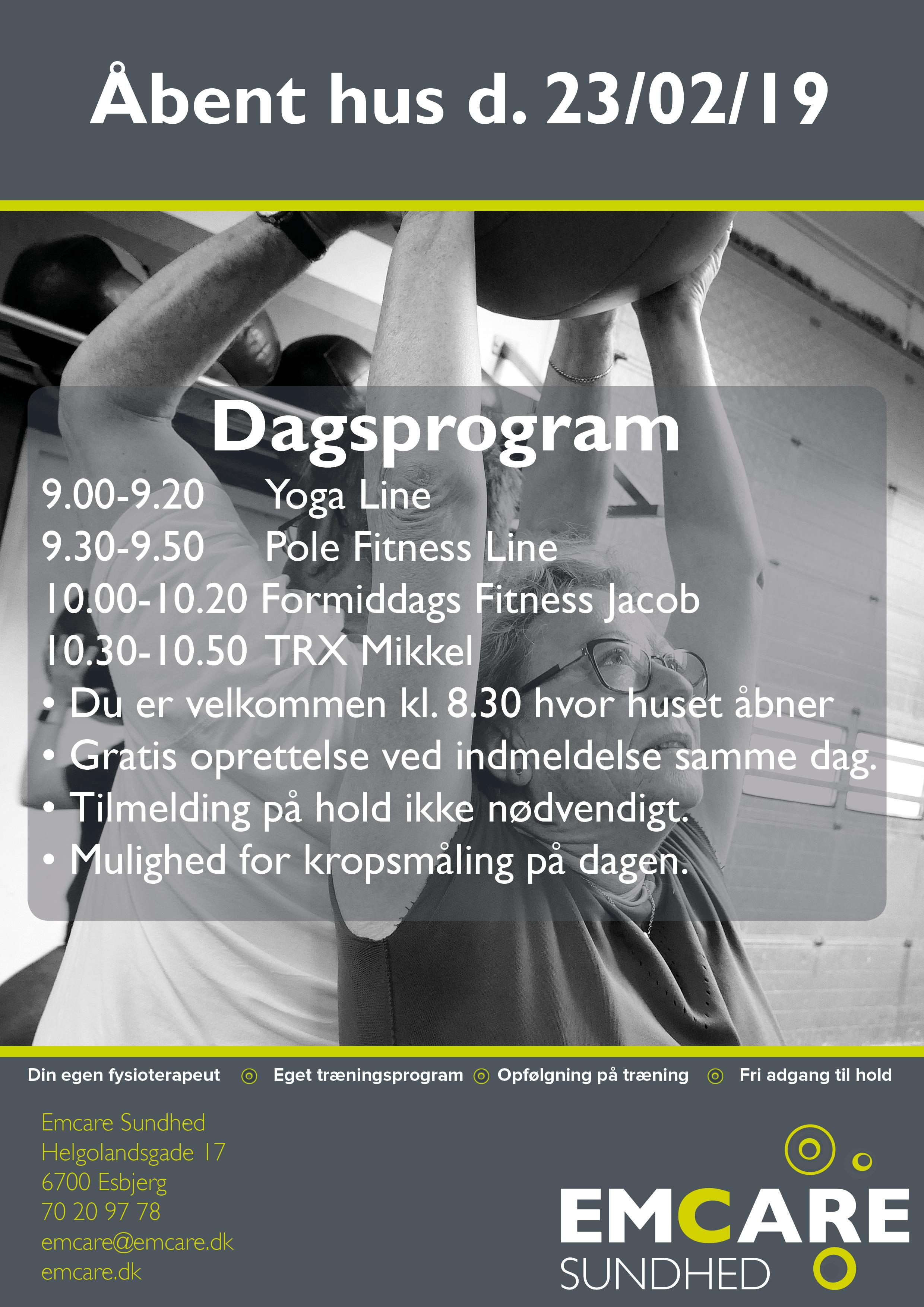 Dagsplan Åbent hus 2019 EmCare Sundhed