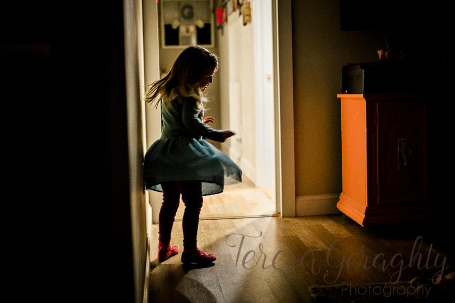 girl dancing in shadow