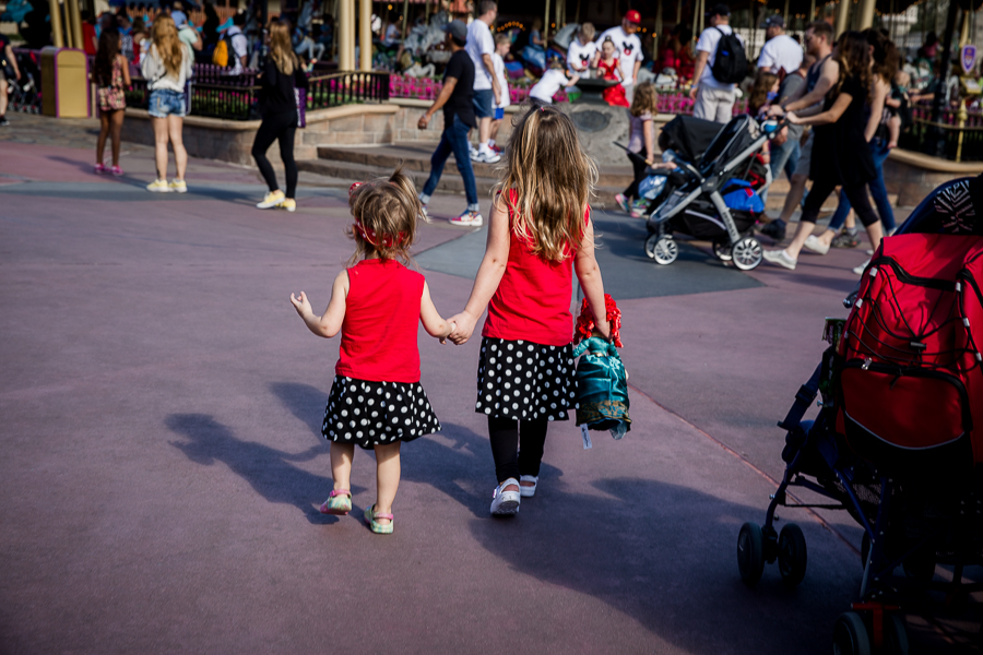 girls in matching outfits walking