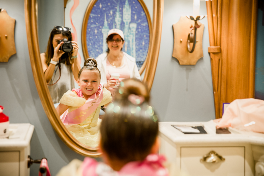 girl at bippity boppiti boutique seeing her hair for first time