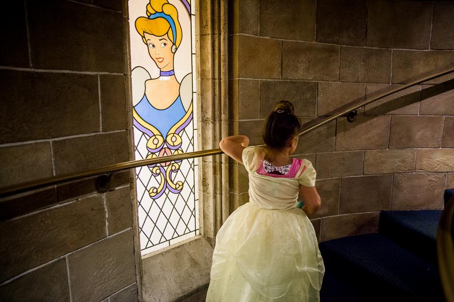 girl in cinderella's castle