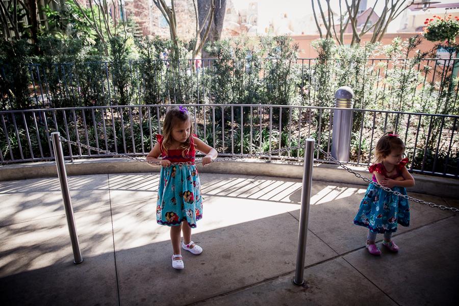 girls waiting on line at disney