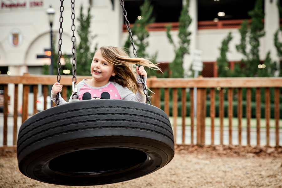 girl on tire swing in St Augustine