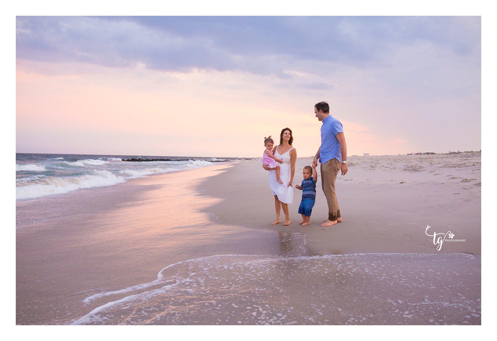 long island sunset beach family photographer in Long Beach