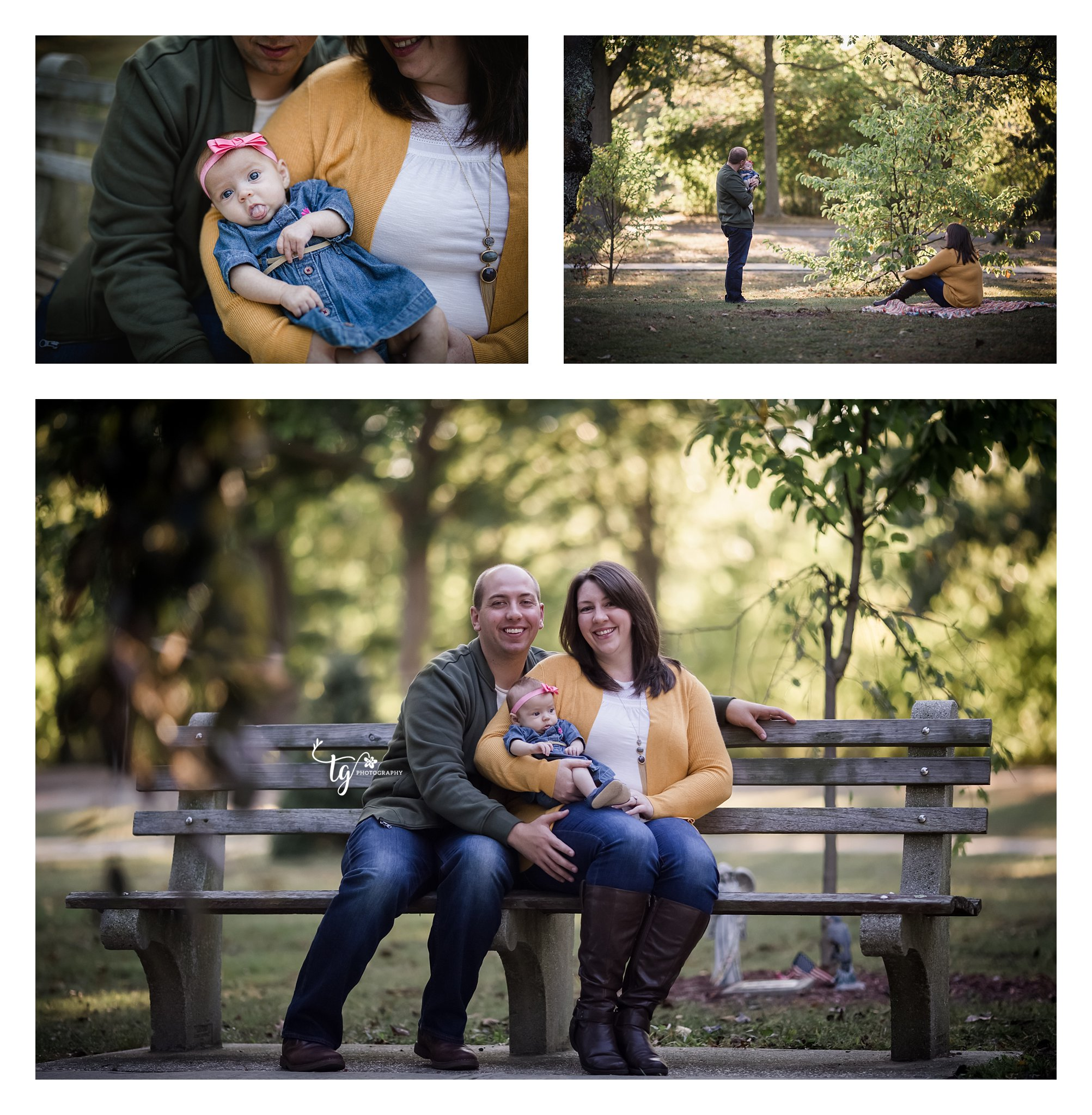 family on park bench looking at baby and dad kissing baby