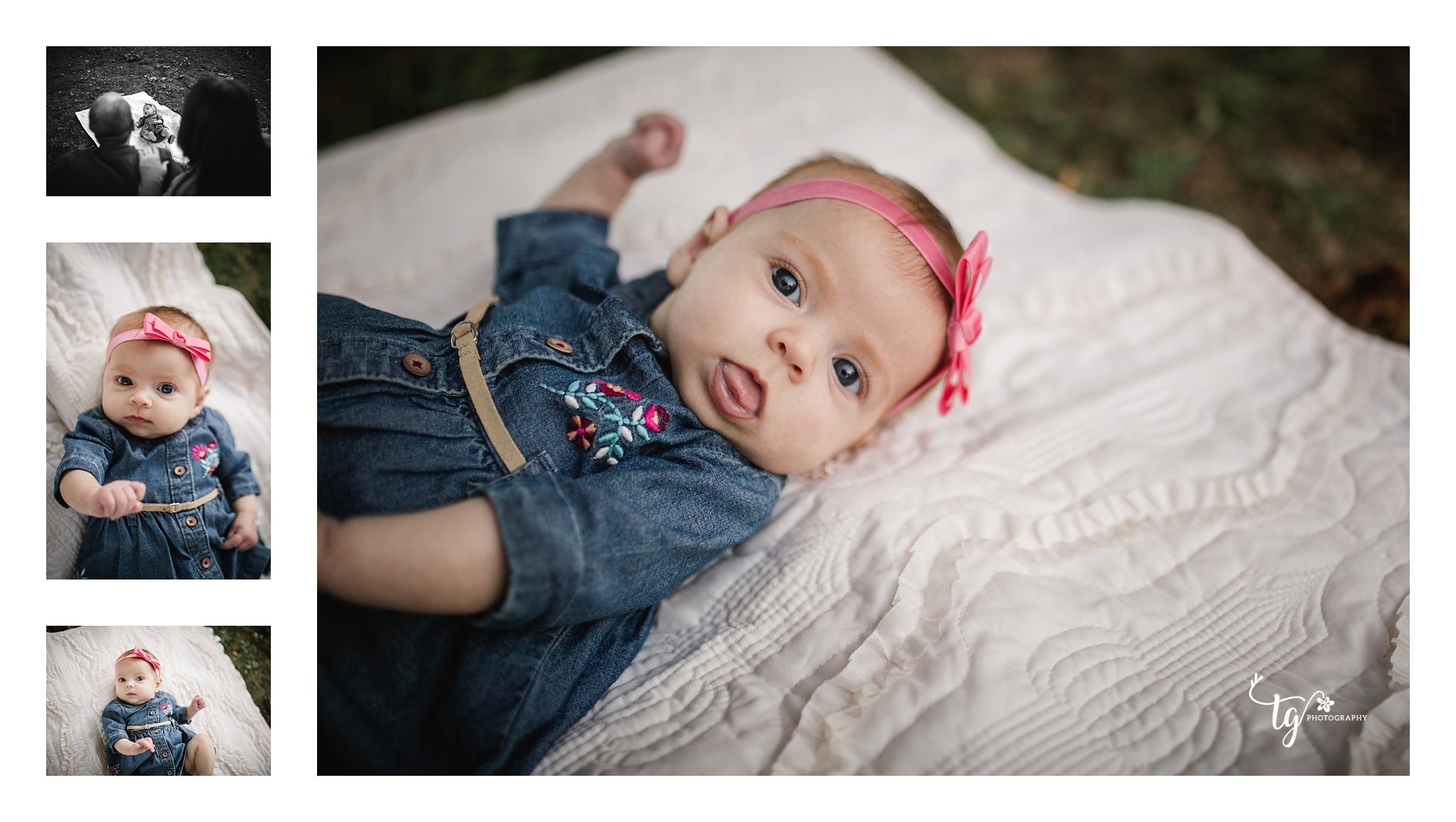 baby on anthrhopologie quilt wearing denim dress and headband