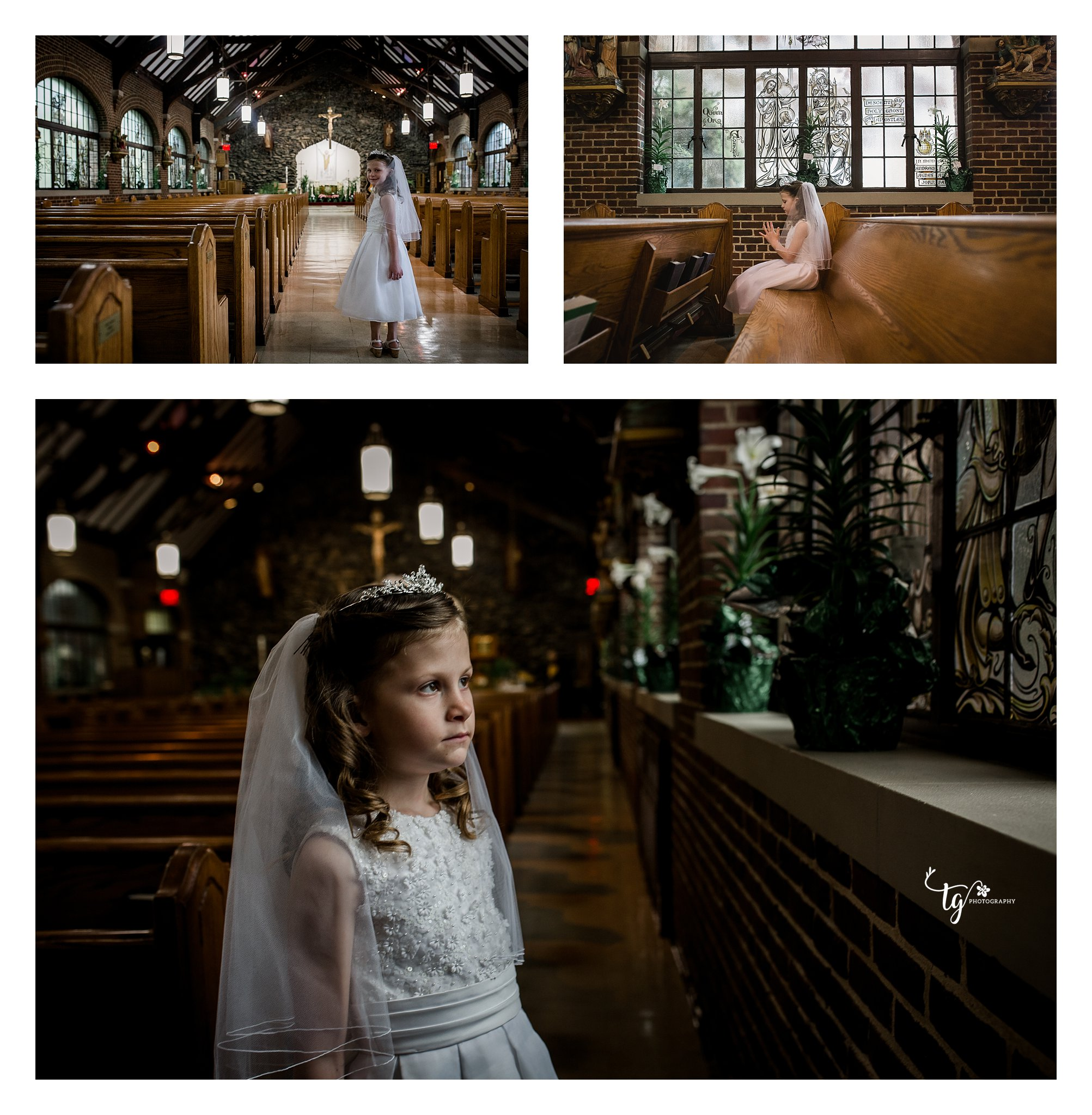communion girl in church sitting in pews and looking out windows