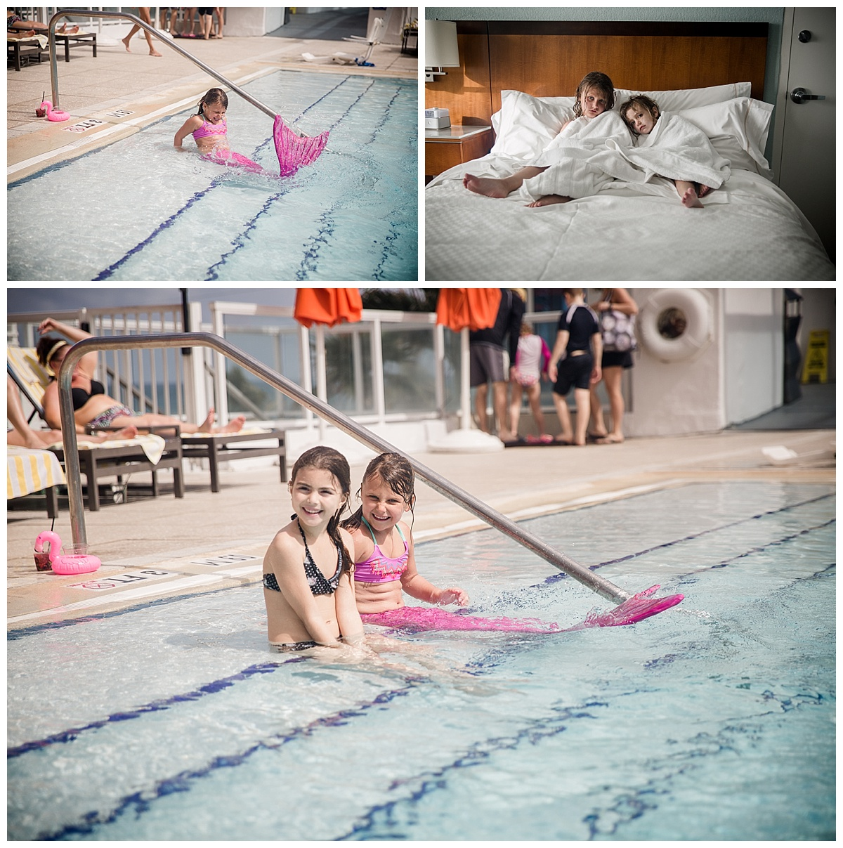 girls playing in pool with mermaid tail