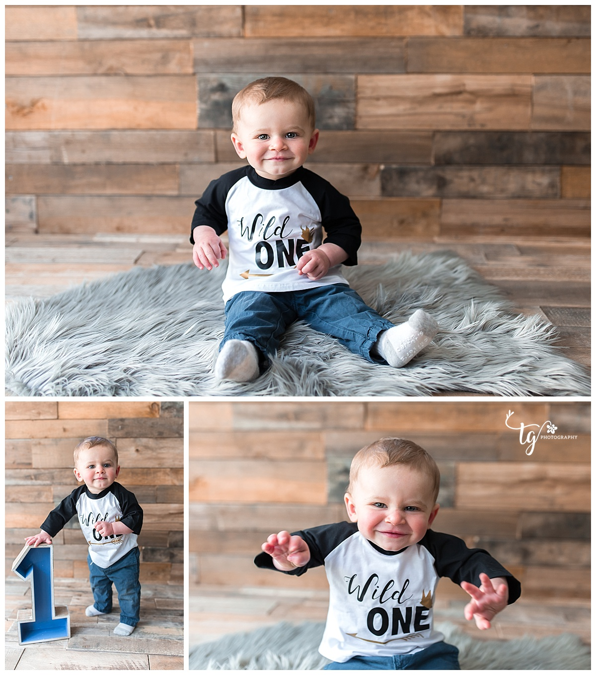 rustic wild one themed first birthday session