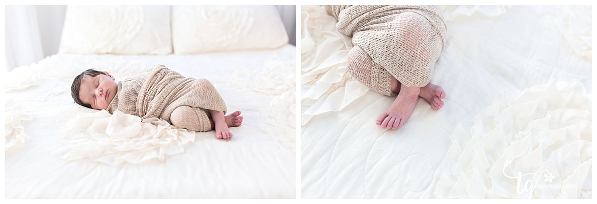 Newborn family session in a studio