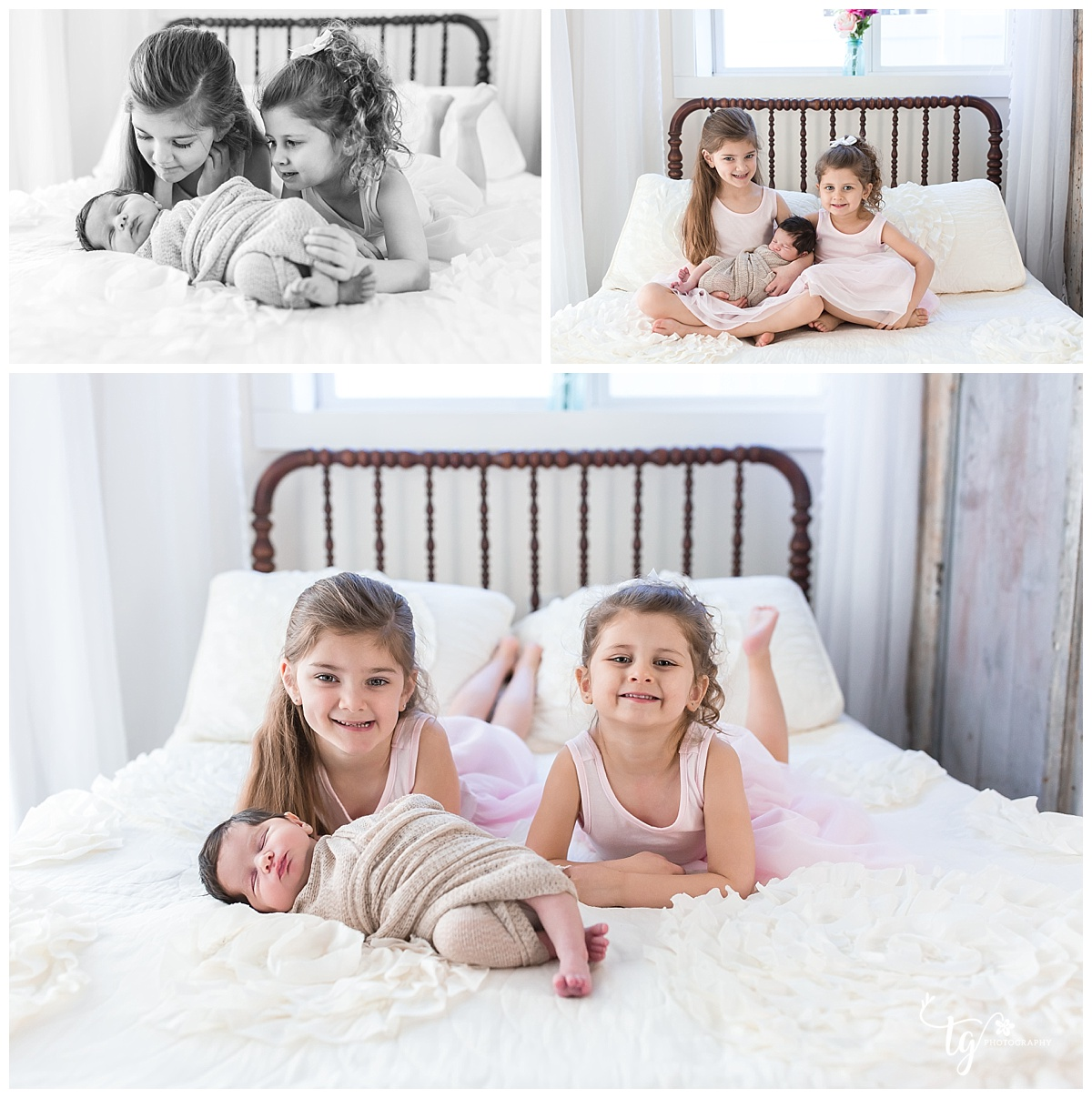 Bright and airy studio newborn session with siblings