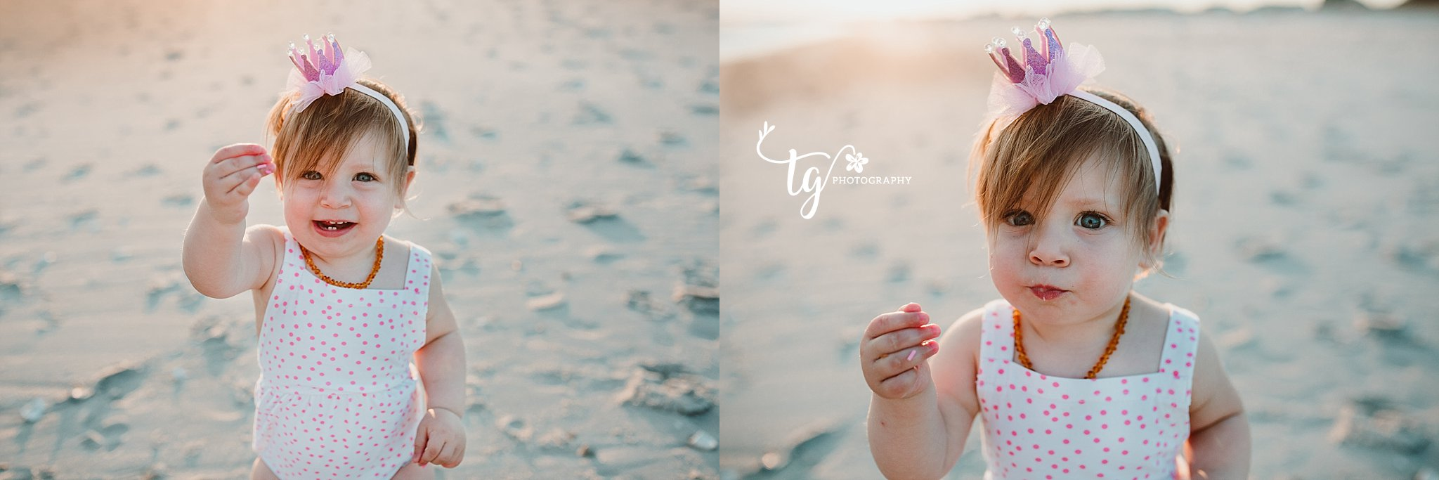 sunset first birthday session on the beach