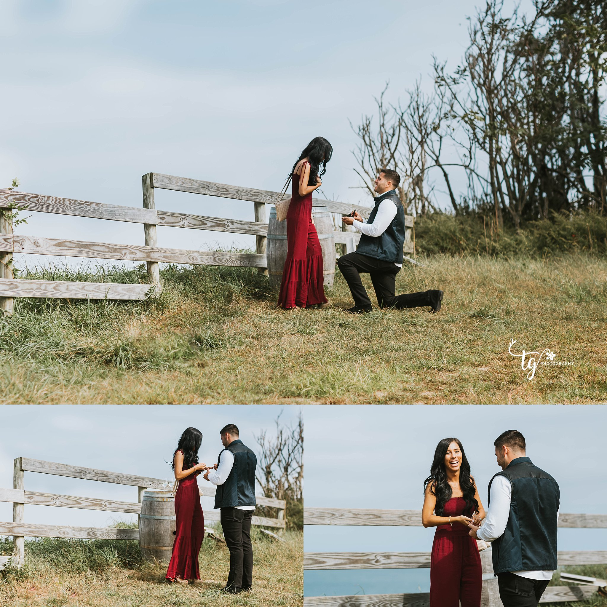 Long Island surprise engagement at a vineyard