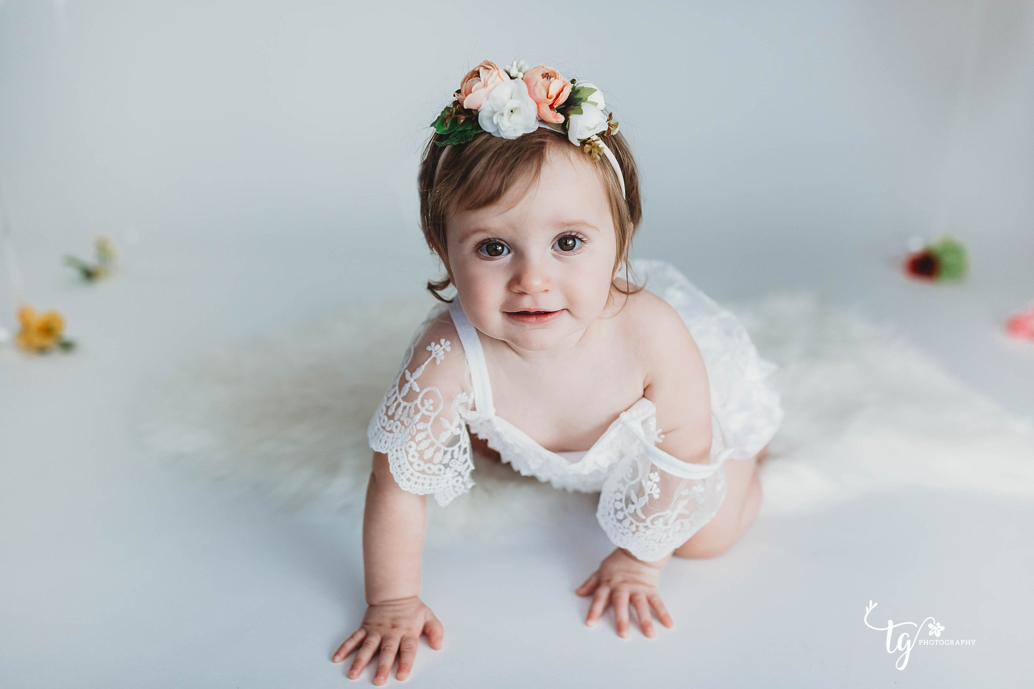 Boho floral first birthday session